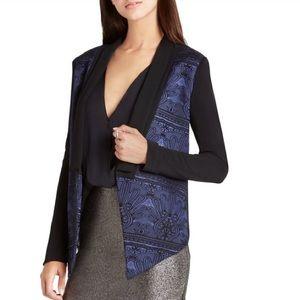 Blue and Black Jaquard Brocade Tuxedo Jacket